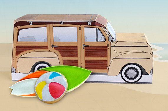 Retro Woodie Surfer Wagon Box Kit - Cream - Woody Car Cupcake Box - DIY Printable PDF Kit - INSTANT Download $7.99