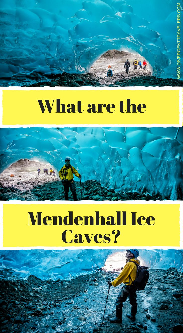What are the Mendenhall Ice Caves and where are the Ice caves? If you've considered visiting Alaska you have probably stumbled across surreal photos of people standing and walking in the bright blue Mendenhall Ice Caves formed on the Mendenhall Glacier. Click to read more at https://www.divergenttravelers.com/mendenhall-ice-caves-guide/ #Alaska #IceCaves #Travel #Adventure