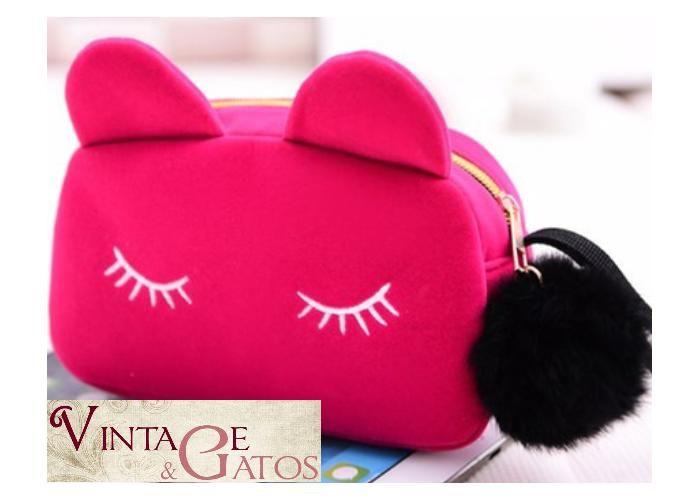 Vintage y Gatos: Cosmetiquera/clutch/bolsa gato terciopelo - Kichink!