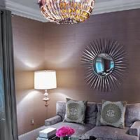 Susan Glick Interiors - living rooms - purple room, purple living room, purple room ideas, purple ceiling, wallpaper on ceiling, wallpapered...