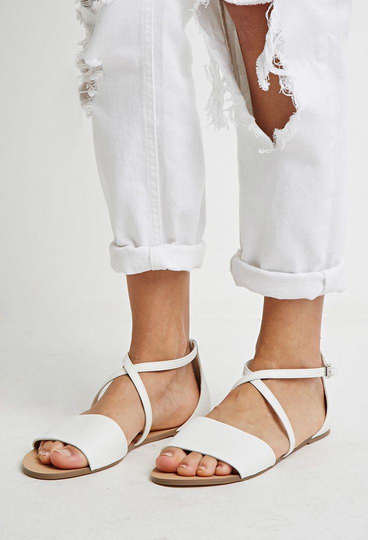 Faux Leather Crisscross-Strap Sandals