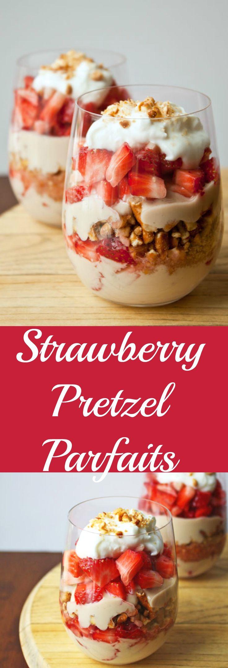 Strawberry Pretzel Salad in parfait form. Serves two!