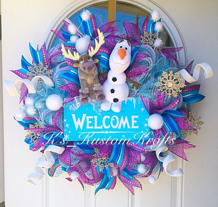Frozen wreath, christmas wreath, winter wreath, holiday wreath, frozen, welcome wreath - pinned by pin4etsy.com
