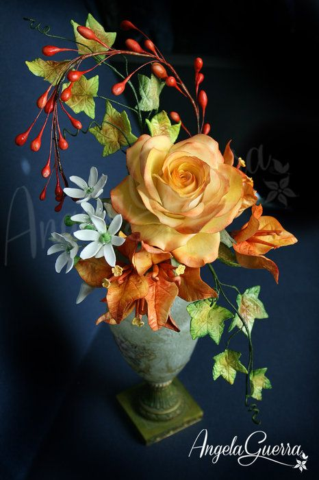 Composition of flowers for a friend - by Angela Guerra @ CakesDecor.com - cake decorating website