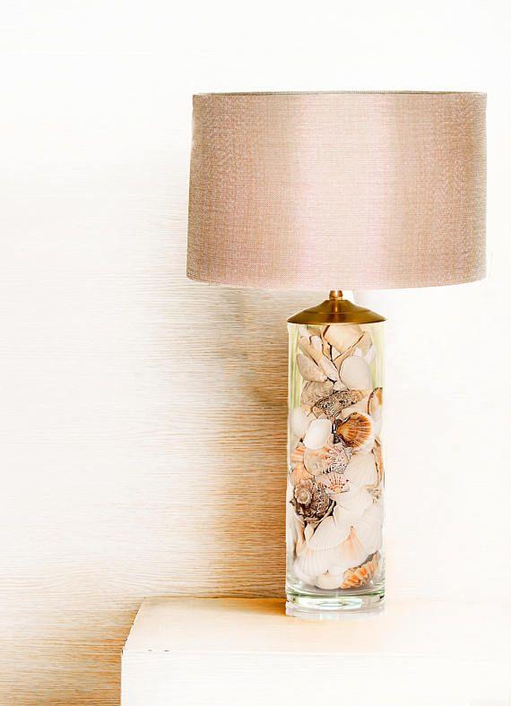 Coastal Table lamp Seashell Lamp Grey Lamp shade Bedside