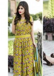 Party Wear Yellow Cotton Printed Straight Suit