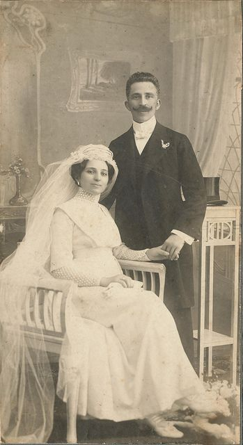 Wedding photo, Budapest, Hungary, 1900; posted on Flickr by janwillemsen