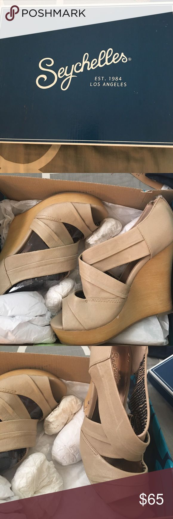 Seychelles wedge shoes Light tan wedge shoes only worn twice size 7 Seychelles Shoes Wedges