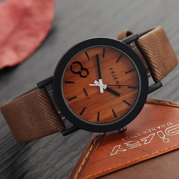 Premium Wooden Color Leather Strap Wristwatch #watch #wooden
