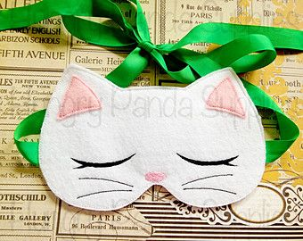Kitty Cat Sleep Mask Embroidery Design, sleep mask, machine embroidery, ITH mask, in the hoop mask, embroidery sleep mask, 5x7, 6x10
