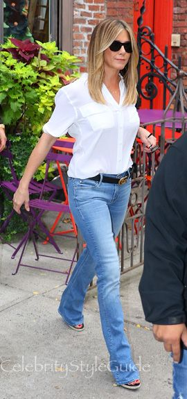 Jennifer Aniston and Mother Cruiser Jeans, Equipment Slim Signature Blouse, Gucci Leather Belt, Tom Ford Jack Sunglasses. See the latest Jennifer Aniston style, fashion, beauty, trends, wardrobe and accessories.
