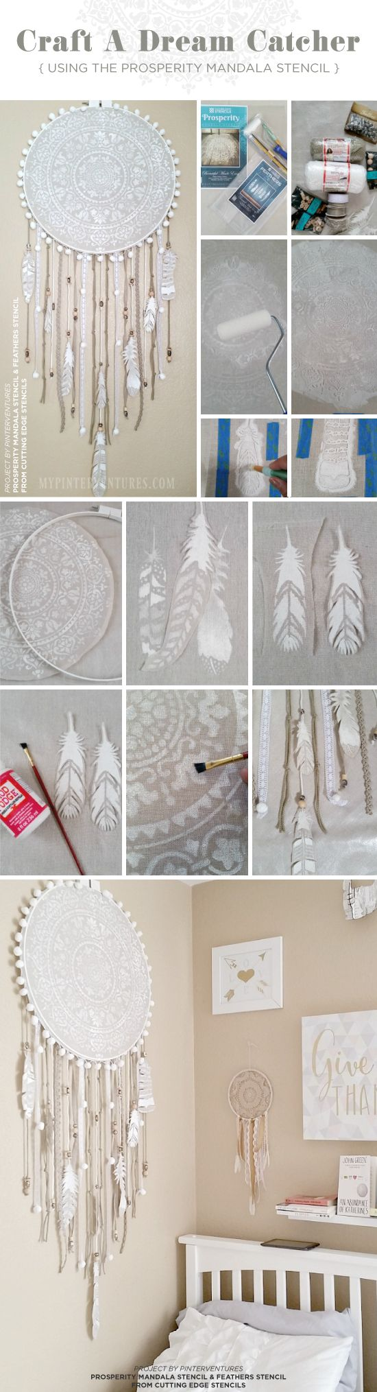 25 unique mandala stencils ideas on pinterest cutting edge learn how to stencil a dream catcher craft using the prosperity mandala stencil from cutting edge amipublicfo Images