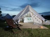 One of the current trends that combines the concept of temporary hotels with glamping are luxury tents with glamorously furnished bedrooms. The Pop-Up Hotel , a UK-based company with locations in Glastonbury and other sites, offers a variety of tent styles available such as 16 foot or 14 foot yurts or safari style lodging like this Superior tent.