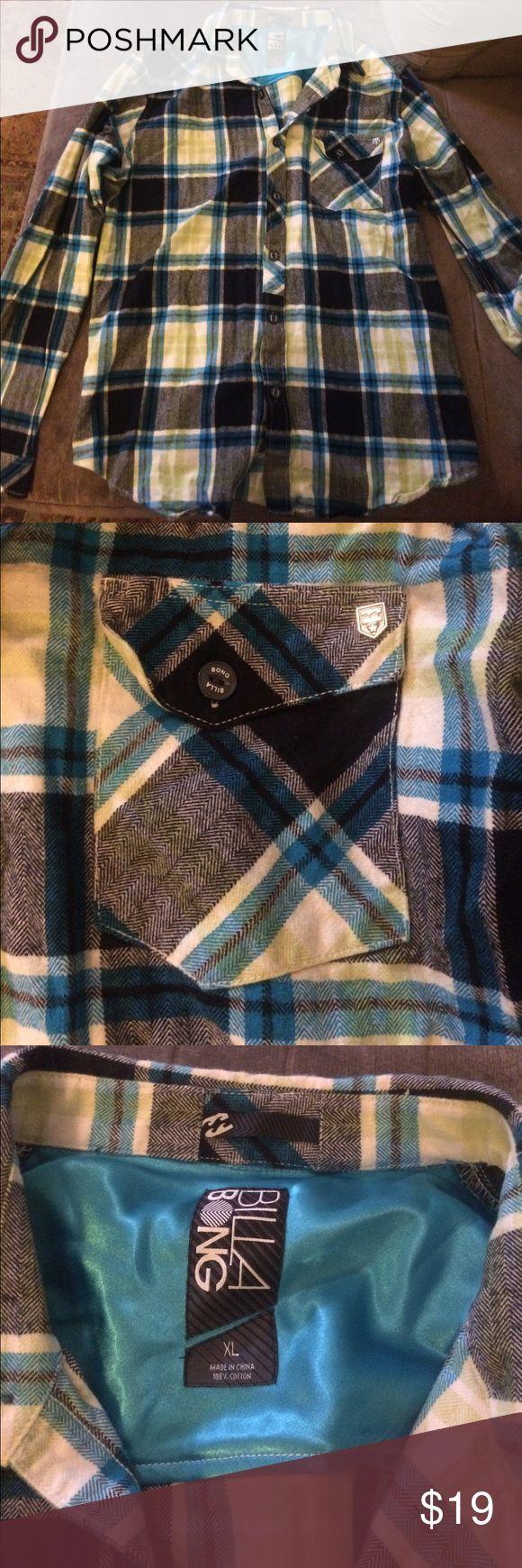 Men's Billabong plaid shirt Gently worn, green and blue plaid Shirts Tees - Long Sleeve
