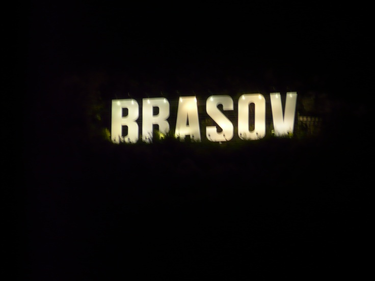 """Brasov """"Hollywood"""" sign at night.  Theirs lights up.  The Hollywood sign in Hollywood does not.  Too bad."""