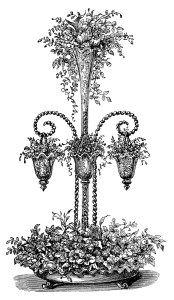 vintage flower clipart, flower engraving, black and white clip art, floral arrangement graphic, free digital download flowers