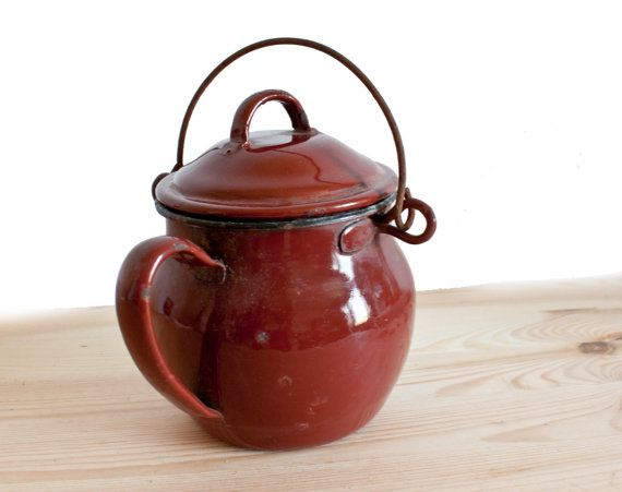 French vintage dark red enamel pot  French by FrenchBaguette, €28.00
