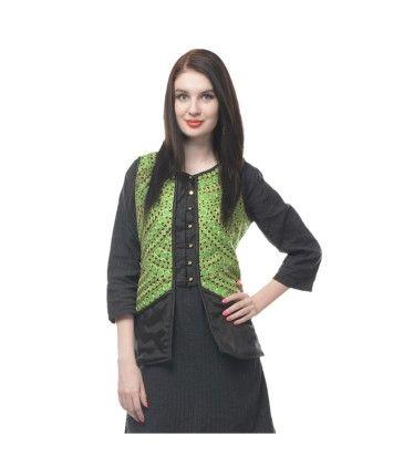 Green-Black Dupion Quilt Jacket  #ohnineone