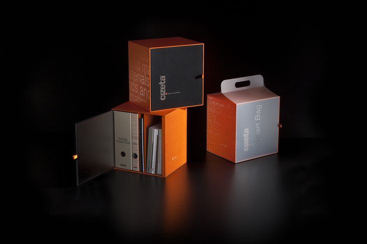 The new boxes of Cizeta, containing catalogs and samples.