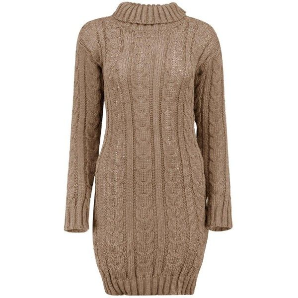 Boohoo Lottie Cable Knit Jumper Dress (190 SEK) ❤ liked on Polyvore featuring dresses, wrap dress, knitwear dresses, going out dresses, cable knit turtleneck and brown dresses