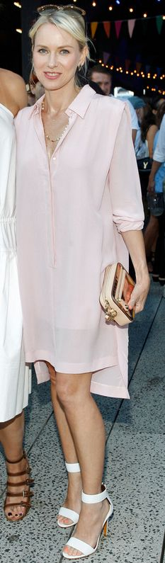 Who made  Naomi Watts' pink shirt dress that she wore in New York that she wore on June 11, 2013?