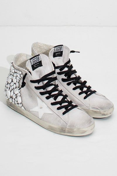 High-top style Brushed white suede White embellished stones on back side  White leather star applique Black lace-up closure Side zipper French terry  lining ...