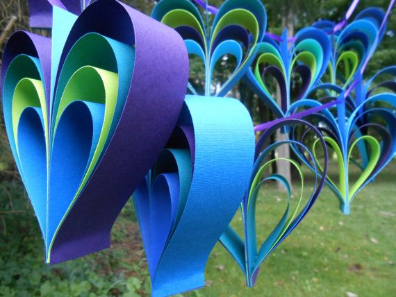 PEACOCK Heart Garland 10 Hearts Wedding Shower Decoration Home Decor Custom Orders Welcome Any Color Available