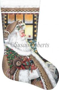 Santa on the Job - 18 Count Hand Painted Needlepoint Stocking Canvas