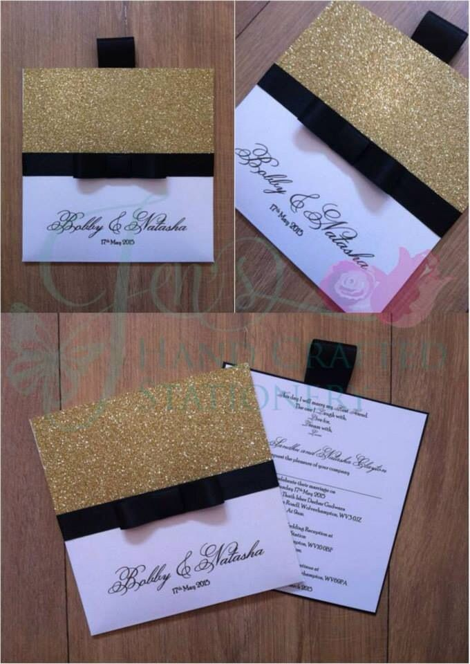 paper cut wedding invitations uk%0A Gold glitter  white and black wallet wedding invitation  www jenshandcraftedstationery co uk