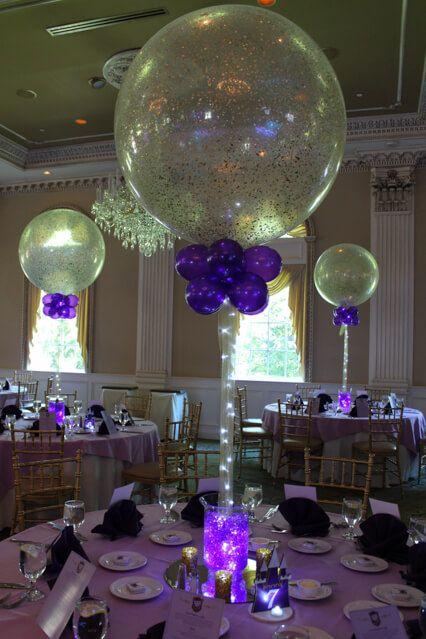 Sparkle Balloon CenterpieceGold Sparkle Balloon Centerpiece with Purple Gems & LED Lighting