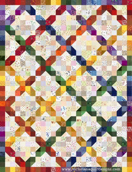 Scrappy Rainbow Crossroads Quilt Pattern Quilting