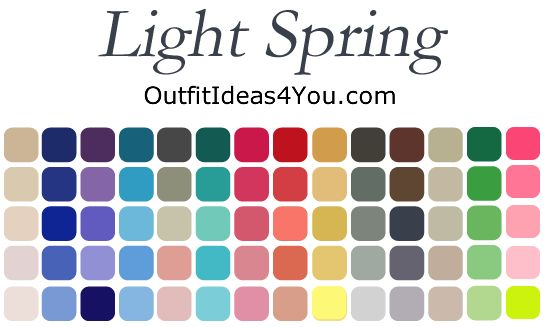 Here are the perfect colors for you to wear if you are a light spring. Not sure what colors you should wear? Visit http://OutfitIdeas4You.com to get your seasonal color analysis.