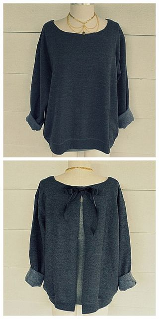 DIY Ribbon Tie Sweatshirt Refashion Tutorial from... (TrueBlueMeAndYou: DIYs for…