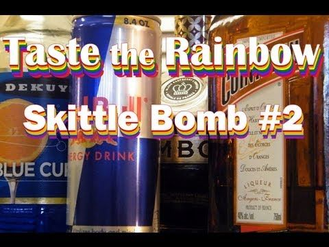 Taste the Rainbow: a variation on the Skittle Bomb. This one is a drop shot that turns green. Blue Curacao and Red Bull make the magic happen.
