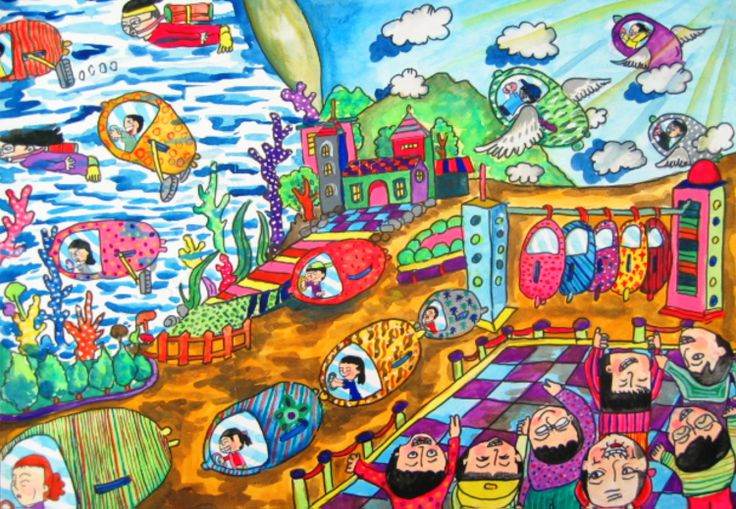 'Colorful Silkworm Cars' by Jie-Rou Hwang, Aged 8, Taiwan: 3rd Contest, Gold #KidsArt #ToyotaDreamCar