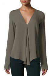 Elegante cuello en V manga larga color puro de la blusa de las mujeres asimétricas