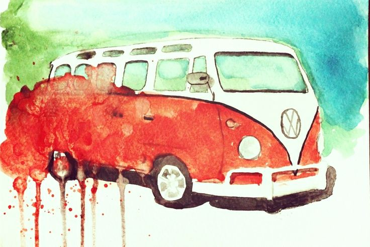 vw transporter t1 watercolor