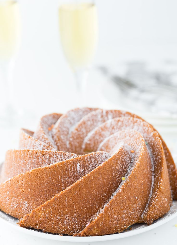 An easy moist and crumbly champagne pound cake recipe that is perfect for New Year's Eve celebrations.