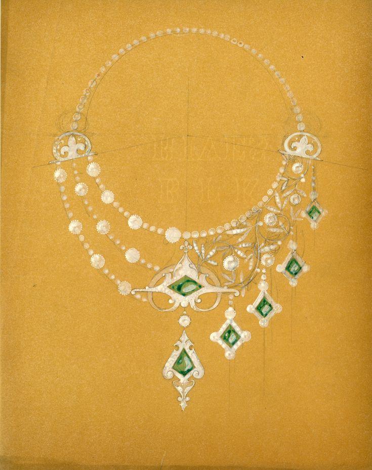LALIQUE RenE, Dessin assymetrique, emeraudes (c) Lalique SA