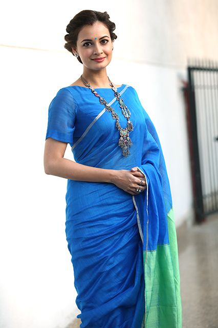 30 Gorgeous Sari Outfits— Traditional, Modern, & Unexpected #refinery29 http://www.refinery29.com/sari-outfits#slide-4 Actress Dia Mirza in a colorblocked sari.