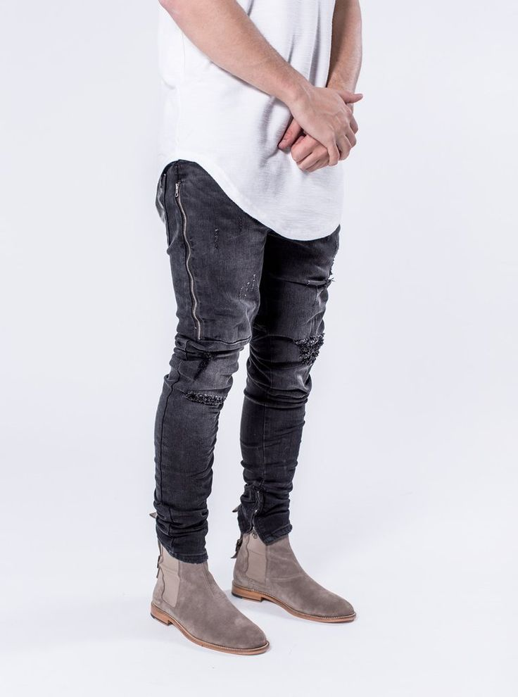 Dunlox - Faded Black  $184.00    The Dunlox is the perfect fitting denim with distressing, thigh YKK zipper detailing, distressed knees and YKK zipper ankle closure. These jeans come with our signature cut and sew seat detailing on the rear of the pants.    https://kollarclothing.com/collections/all/products/dunlox-faded-black