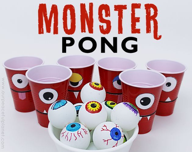 Fun family or party game for Halloween or any time! All you need are some cups and ping pong balls.  ***CLICK HERE FOR PRINTABLES, MORE PICS & DETAILS*** SUPPLI…