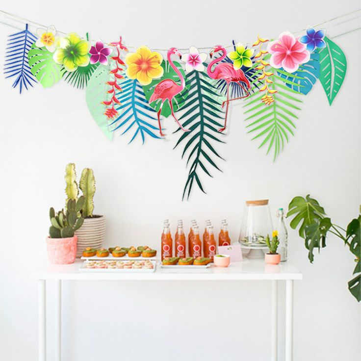 Cheap garland paper, Buy Quality garland flower directly from China garland leaf Suppliers: Flamingo Flower Banner Tropical Leaf Paper Garlands for Hawaiian Luau Party Supply Birthday Decoration Summer Beach Supplies 75D