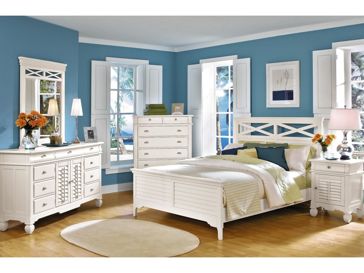 Plantation Cove White 5-PC Panel Bedroom Package - American ...