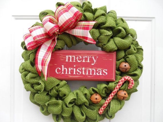 Country Christmas Green Burlap Door Wreath by ChloesCraftCloset