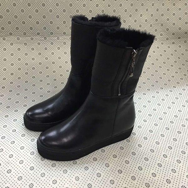 Европа станция кожаные сапоги овчины сапоги удобные и теплые ботинки снега женские с толстым дном кожаные сапоги Duantong
