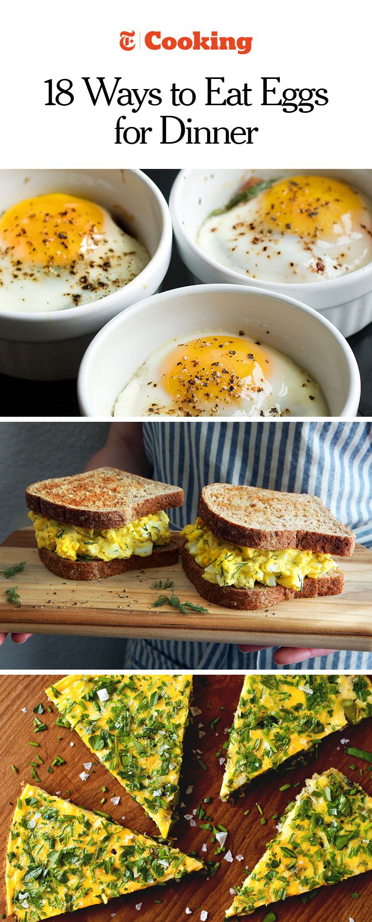 From Mark Bittman's baked egg with prosciutto and tomato (above) to Eli Zabar's egg salad sandwich, here are 18 ways to get more eggs involved in your evening meals. (Photos:  Evan Sung for NYT; Jim Wilson/NYT;