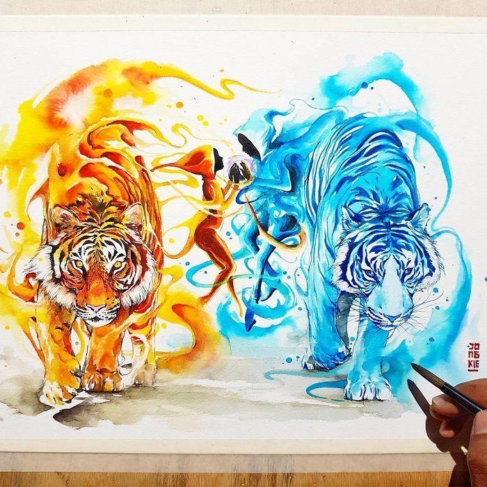 Spirits of Tigers. Vibrant Fantasy Watercolor Animal Paintings. By Luqman Reza Mulyono.