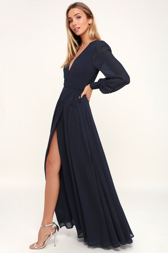 1aed69954836 Lulus | My Whole Heart Navy Blue Long Sleeve Wrap Dress | Size X-Small |  100% Polyester