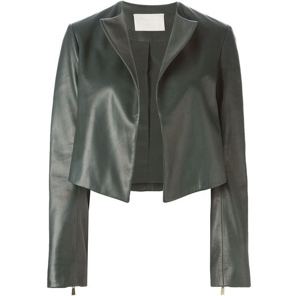Jason Wu Cropped Leather Jacket ($2,024) ❤ liked on Polyvore featuring outerwear, jackets, green, green jacket, 100 leather jacket, real leather jacket, straight jacket and genuine leather jacket